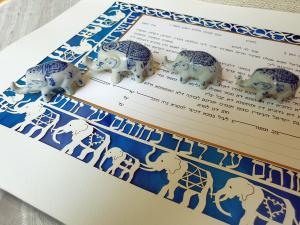 Elephants, Small Paper-Cut Ketubah
