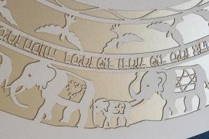 Elephants, Round Paper-Cut Ketubah