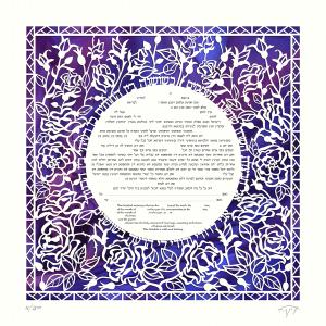 A Rose for You Paper-Cut Ketubah