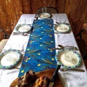 Sukkot Turquoise Table Runner