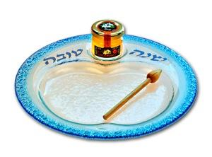 Shana Tovah Apple and Honey Dish - Glass