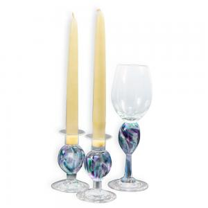 BLOWN CRUSHED WEDDING GLASS SHABBAT SET