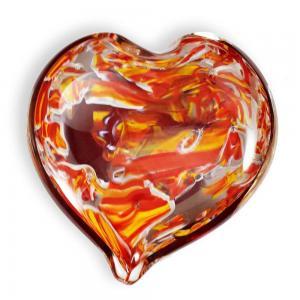 BLOWN CRUSHED WEDDING GLASS HEART KEEPSAKE
