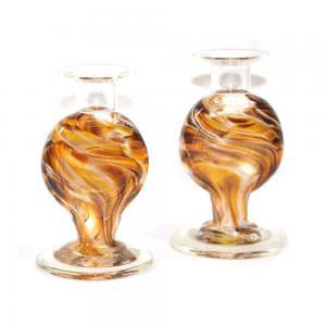BLOWN CRUSHED WEDDING GLASS CANDLESTICKS SET