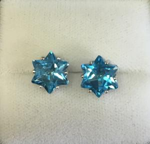 Blue Topaz Earrings - 14kt White Gold