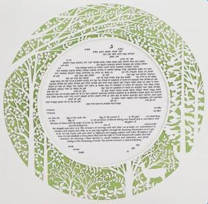 Forest Ketubah Green