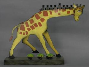 Giraffe Hanukkah Menorah - Metal and Wood
