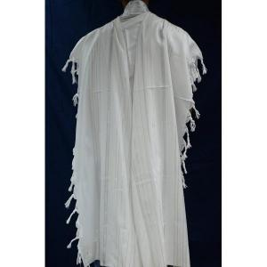 Mishkan Hatchelet White Wool Tallit with Gold Embellishment