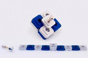 Contemporary Menorah, Dreidel Design - Silver & Blue