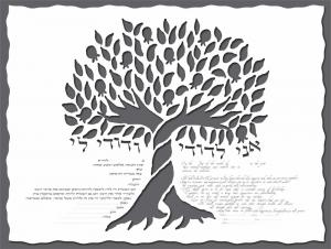 Pomegranate Tree Ketubah in Charcoal