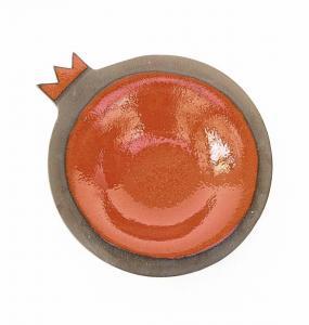 Red Stoneware Clay Pomegranate Dish