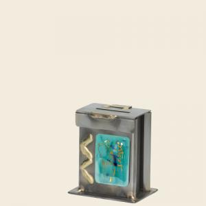 Bat Mitzvah Tzedakah Box - Glass, Steel, and Copper