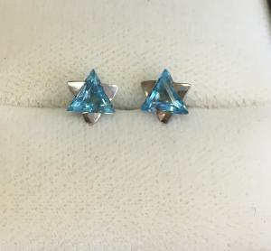 Blue and Silver Star of David Earrings - 14kt White Gold