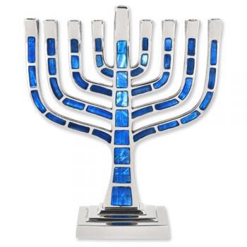 Blue Jeweled Mosaic Kenesset Menorah