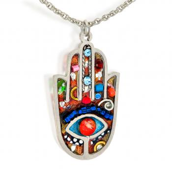 Large Elegant Hamsa Necklace - Stainless Steel
