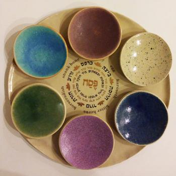 Colorful Passover Seder Plate - Ceramic