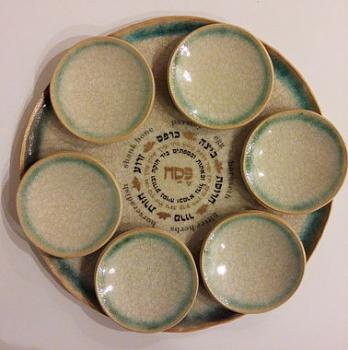 Green Crackle Passover Seder Plate - Ceramic