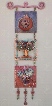 3 Wall Tiles by Ahuva Elany - Copper