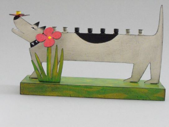 Dog Menorah Metal and Wood