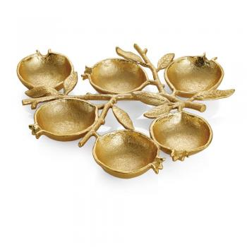 Pomegranate Seder Plate - Goldtone