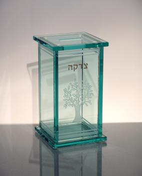 Tree of Life Art Glass Tzedakah Box