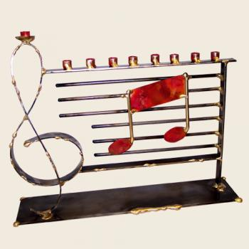 Large Music Menorah - Copper and Steel