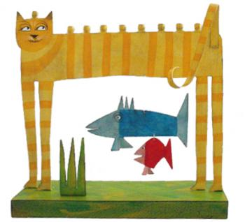 Cat Menorah - Metal and Wood