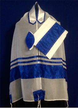 Royal Blue Chiffon Tallit Set