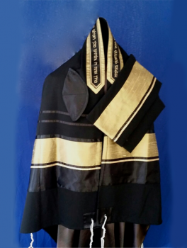 Men's Traditional Black and Gold Tallit Set