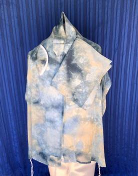 ADE747-Blue Tie Dye Chiffon Talit