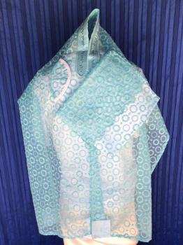 ADE764-Turquoise Circles Chiffon Talit