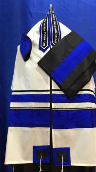 Electric Blue and Black Wool Tallit ADEB 805
