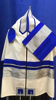 Electric Blue and Silver Wool Tallit ADEB 807