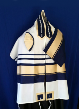 Men's Navy and Gold Traditional Tallit Set