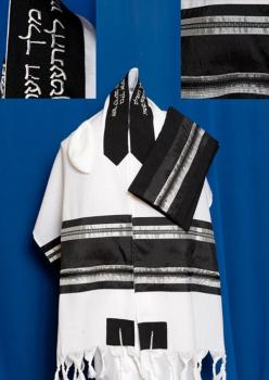 Men's Traditional Black and Silver Wool Tallit Set