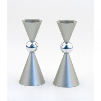 Mini Ball Candle Holders Silver Aluminum