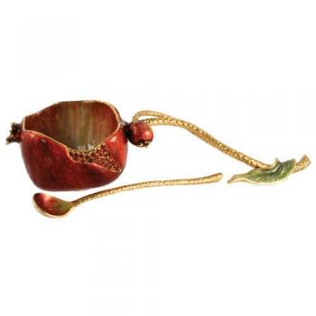 Pomegranate Honey Set with Spoon for Rosh Hashana by Quest Gifts