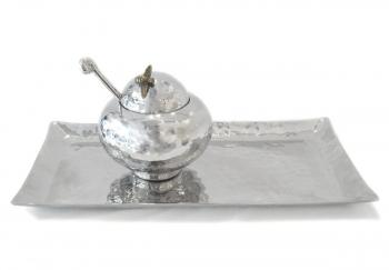 Honey Pot and Large Tray, Stainless Steel