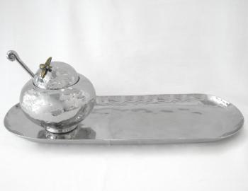 Honey Pot and Oval Apple Tray, Stainless Steel