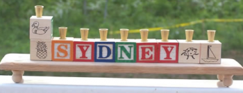 Baby Block Personalized Menorah