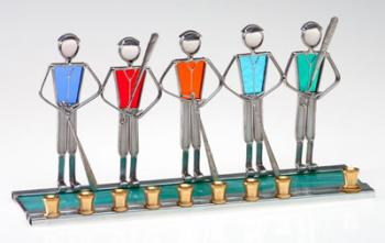 Stained Glass Baseball Hanukkah Menorah