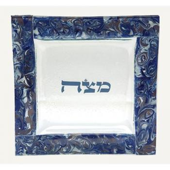 Marbled Blue & Grape Matzah Tray