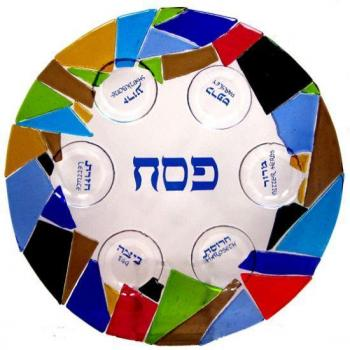 Mosaic Seder Plate by Tamara Baskin - Glass