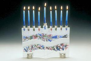 Floral Menorah - Glass