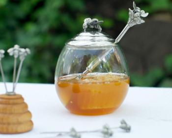 Honey Pot with Bee Spoon
