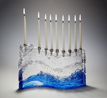 'S' Menorah Bermuda Blue - Glass