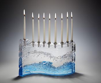 'S' Menorah Turquoise - Glass