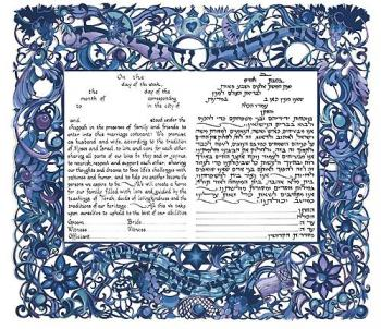 Birds of Paradise Blue Ketubah