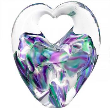BLOWN WEDDING GLASS HEART SCULPTURE