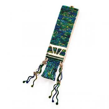 Talit Mezuzah Bronze with Blue and Greens